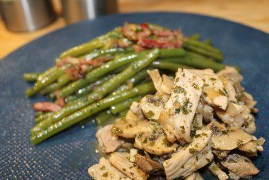 RestoMaryvonne Courtaboeuf plat saute de porc haricots verts